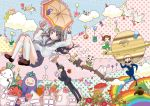 2boys 2girls angel balloon bear bird butterfly cactus cat chitanda_eru clouds crossover daikon dera_mochimazzui eggplant flower fukube_satoshi helicopter hyouka ibara_mayaka koorogi kyoto_animation multiple_boys multiple_girls mushroom oreki_houtarou planet rabbit rainbow saturn school_uniform serafuku tamako_market tomato train umbrella vegetable