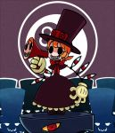 andy_anvil black_eyes bow dress extra_eyes gias-ex-machella gloves hat logo megaphone orange_hair parted_lips peacock_(skullgirls) red_eyes sharp_teeth short_hair skullgirls smile solo_focus tagme top_hat yellow_sclera