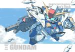 7-gou_(kisuke007) beam_rifle chibi clouds energy_gun flying funnels gundam gundam_hathaway's_flash highres mecha no_humans shield sky solo xi_gundam