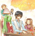 2boys 3girls :d birthday_cake black_hair brown_hair c.c. cake character_name closed_eyes code_geass creayus detached_sleeves food green_hair happy_birthday lelouch_lamperouge long_hair maid multiple_boys multiple_girls nunnally_lamperouge open_mouth origami paper ponytail rolo_lamperouge shinozaki_sayoko short_hair sitting smile sweatdrop sweater tears trembling violet_eyes