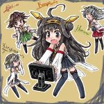 4girls ahoge bare_shoulders black_eyes black_hair black_legwear blush boots brown_hair character_name computer_screen detached_sleeves double_bun fang glasses hair_ornament hairband haruna_(kantai_collection) headgear hiei_(kantai_collection) japanese_clothes kantai_collection kirishima_(kantai_collection) kongou_(kantai_collection) long_hair multiple_girls nanashii_(soregasisan) nontraditional_miko open_mouth personification plaid short_hair skirt smile thigh_boots thighhighs yellow_eyes