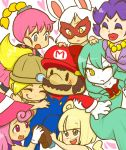 1boy 6+girls animal_ears bangs blonde_hair blunt_bangs blush bombette bow breasts brown_eyes brown_hair buttons cleavage closed_eyes curly_hair drill_hair facial_hair fang flurrie gloves goombella green_hair grey_eyes hair_bow hair_ribbon harem hat heart jewelry lips lipstick long_hair luvbi makeup mario marisu mask mouse_ears ms._mowz multiple_girls mustache necklace nintendo nose open_mouth overalls paper_mario parted_bangs payot personification pink_hair ponytail purple_hair resaresa ribbon shadow_siren shoes short_hair simple_background super_paper_mario suspenders teeth tongue violet_eyes vivian white_hair wings wink yellow_eyes |_|