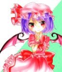 1girl arm_behind_back ascot bat_wings bow brooch hat hat_ribbon index_finger_raised jewelry lavender_hair looking_at_viewer mob_cap red_eyes remilia_scarlet ribbon shairoze_teitoku short_hair simple_background skirt skirt_set smile solo touhou two-tone_background wings wrist_cuffs