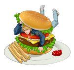 1boy blonde_hair blue_eyes blue_jacket bomber_jacket food french_fries hamburger jacket keith_goodman ketchup shoes sneakers solo tiger_&_bunny v-room
