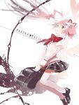 bow_(weapon) do_nko dual_persona goddess_madoka heterochromia kaname_madoka mahou_shoujo_madoka_magica pink_hair school_uniform skirt solo star thigh-highs universe weapon