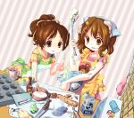 2girls apron baking bear brown_hair cooking food hair_ornament hirasawa_ui hirasawa_yui k-on! knife messy milk milk_carton mintchoco multiple_girls siblings