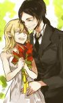 2girls bouquet christa_renz closed_eyes couple dress flower formal highres holding kiki7 multiple_girls necktie pant_suit rough shingeki_no_kyojin smile suit white_dress ymir_(shingeki_no_kyojin) yuri