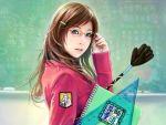 blue_eyes brown_hair chalkboard chinese classroom_eraser eat glasses highres long_hair nail_polish notebook realistic ruler solo teacher