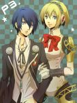 1girl aegis android arisato_minato blonde_hair blue_eyes blue_hair bow checkered checkered_background couple digital_media_player earphones headband headphones highres megaten persona persona_3 ribbon school_uniform senano senano-yu short_hair smile