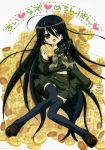 ahoge black_hair blush bread brown_eyes food highres long_hair melon_bread midriff nomura_fusako school_uniform seifuku shakugan_no_shana shana skirt thigh_highs thighhighs uniform very_long_hair