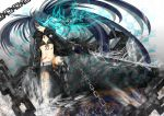 belt bikini_top black_hair black_rock_shooter black_rock_shooter_(character) blue_eyes boots chain coat long_hair midriff navel scar solo stitches sword twintails uneven_twintails very_long_hair weapon yutaro5313