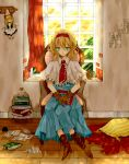 blonde_hair blue_eyes book boots capelet chair closed_eyes colored_eyelashes cushion doll expressionless eyelashes gloves hair_ribbon hanging highres hiharo jar paper pillow ribbon room shanghai shanghai_doll shawl short_hair sitting touhou window