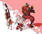 cigarette circle_a crossover flamethrower fujiwara_no_mokou gas_mask hadouken hair_bow highres long_hair red_eyes ribbon silver_hair smoking suspenders team_fortress_2 the_pyro touhou wallpaper weapon
