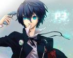 androgynous armband blue_eyes blue_hair evoker gun gun_to_head headphones hoe_(dbp) male persona persona_3 school_uniform weapon
