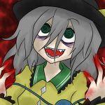 blood crazy creepy fang green_eyes grey_hair hat komeiji_koishi oro_(zetsubou_girl) pale_skin touhou