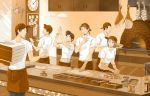 apron auruo_bossard cap clock erd_gin eren_jaeger food gunter_shulz kitchen levi_(shingeki_no_kyojin) notepad onion oven petra_ral phone pizza pizza_box restaurant shingeki_no_kyojin yappo_(point71)