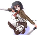 belt black_hair blue_eyes boots dual_wielding jacket mikasa_ackerman scarf shingeki_no_kyojin short_hair sword thigh_strap velia weapon