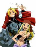 alex_luis_armstrong alphonse_elric armor bandeau blonde_hair blue_eyes cat edward_elric fullmetal_alchemist gloves highres long_hair navel smile tubetop winry_rockbell yellow_eyes