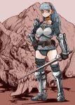 belt blood blue_eyes blue_hair chain_mail gloves monster mya original solo sword thigh_strap weapon