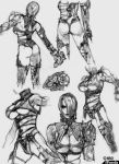 armor ass breasts cleavage concept_art gloves hair_over_one_eye isabella_valentine monochrome soul_calibur sword thigh-highs under_boob whip_sword