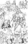 ayla boned_meat chrono_trigger collage crono everyone fighting_stance flea food highres kaeru_(chrono_trigger) lucca_ashtear magus marle meat monochrome nu queen_zeal robert_porter robo schala_zeal sketch tagme