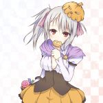 1girl blush breasts candy checkered checkered_background kotaka lollipop looking_at_viewer red_eyes short_hair skirt solo