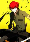 1boy 720yen grey_eyes grin highres minazuki_sho persona persona_4:_the_ultimate_in_mayonaka_arena redhead scar short_hair smile sword weapon yellow_background