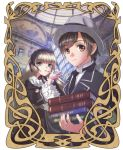 1boy 1girl blonde_hair book brown_hair carrying elaborate_frame formal frame gosick gothic_lolita hairband hat hime_cut kujou_kazuya lolita_fashion lolita_hairband necktie painting pipe school_uniform victorica_de_blois wide_sleeves xuexue_yue_hua