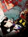 black_hair card gakuran highres joker_(persona_2) kurosu_jun mask persona persona_2 school_uniform xio