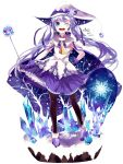 1girl 2013 aqua_eyes artist_name blue_hair cape dated dress hand_on_hip hat hatsune_miku highres hzrn_(ymj924) long_hair magical_girl open_mouth pantyhose snow snowflakes solo twintails very_long_hair vocaloid wand white_background wink witch_hat yuki_miku