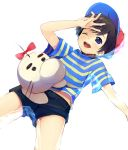1boy black_hair blue_eyes doseisan hat mother_(game) mother_2 ness shiogochi shirt short_shorts shorts smile striped striped_shirt