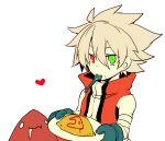 1boy blazblue food heterochromia kuro_yuzu omelet ragna_the_bloodedge silver_hair spoon younger
