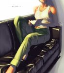 1girl ace_combat ace_combat_5 barefoot black_hair book cargo_pants collarbone couch cup english head_out_of_frame holding kei_nagase pen short_hair sitting tank_top