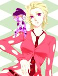1boy 1girl 63_(aito-63) blonde_hair chibi formal genderbend jojo_no_kimyou_na_bouken necktie pannacotta_fugo platinum_blonde purple_haze_(stand) short_hair stand_(jojo) suit violet_eyes