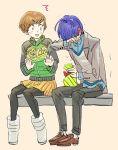 blue_hair blush boots brown_hair casual coat crying ear_blush ichijou_kou jacket persona persona_4 satonaka_chie short_hair sitting sutei_(giru)