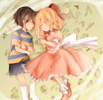 black_hair blonde_hair emon11 highres mother_(game) mother_2 ness nintendo paula_polestar ribbon sleeping