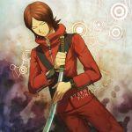 1boy brown_hair closed_eyes hoodie jacket persona persona_2 red_jacket solo suou_tatsuya track_jacket
