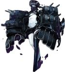 1girl black_gloves black_legwear full_body gloves helmet kantai_collection machinery no_navel official_art oversize_forearms oversized_limbs shinkaisei-kan single_thighhigh solo sugimoto_gang thigh-highs torn_clothes transparent_background tsu-class_light_cruiser turret white_skin