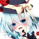 1girl ayatan-kiri blood blue_eyes blush bow frills green_hair hand_on_own_cheek hat hat_bow komeiji_koishi lowres solo touhou