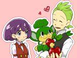 1boy 1girl apple cabernet_(pokemon) dent_(pokemon) food fruit pansage pokemon pokemon_(creature)