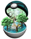net net_ball no_humans pikachu poke_ball pokemon pokemon_(creature) ruun_(abcdeffff) spider_web tree water