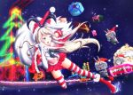 >_< 1girl animal_ears beard blonde_hair cannon cape christmas elbow_gloves facial_hair gloves green_eyes hairband hat kantai_collection long_hair matatabi_(skunim01) personification rabbit_ears red_legwear red_nose rensouhou-chan sack santa_costume santa_hat shimakaze_(kantai_collection) sky sleigh star_(sky) starry_sky striped striped_legwear thighhighs