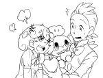 1boy 1girl apple artist_request cabernet_(pokemon) dent_(pokemon) food fruit green_hair pansage pokemon pokemon_(creature) purple_hair
