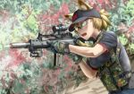 1girl aiming animal_ears assault_rifle blonde_hair casing_ejection didloaded firing g36c glasses gloves gun hat load_bearing_vest magazine_(weapon) military open_mouth operator original ponytail rifle safety_glasses scope shell_casing shooting_glasses short_hair sling solo suppressor watch weapon yellow_eyes
