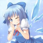 1girl blue_eyes blue_hair blush bow chika_(orange_pop) cirno dress hair_bow hand_on_own_cheek ice ice_wings short_hair smile solo touhou wings wink