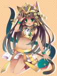 1girl animal_ears bare_shoulders bastet_(p&d) brown_hair cat_ears cat_tail fang gradient_hair green_eyes green_hair headdress heart izumiyuhina long_hair looking_at_viewer mound_of_venus multicolored_hair navel open_mouth puzzle_&_dragons skirt smile solo tail tan