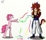 1boy blue_eyes crossed_arms crossover cutie_mark dragon_ball dragon_ball_z gogeta happy monkey_tail muscle my_little_pony my_little_pony_friendship_is_magic pink_hair pinkie_pie pony redhead smile spiky_hair tail