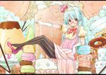 1girl aqua_hair black_eyes blush bow cake candle candy crown doughnut food fruit glasses gloves hairband high_heels icing lollipop macaron original pantyhose pastry payot pocky pudding puffy_sleeves sekiyu. shoe_dangle skirt smile solo spoon strawberry striped striped_legwear twintails vertical-striped_legwear vertical_stripes