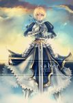 1girl ahoge armor armored_dress blonde_hair breastplate excalibur fate/stay_night fate_(series) faulds gauntlets green_eyes hair_ribbon hannah_santos highres lips long_skirt ribbon saber short_hair skirt solo sword weapon