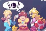 3girls annoyed blonde_hair blue_eyes blush_stickers brown_hair crossed_arms crown earrings elbow_gloves gloves hair_over_one_eye jewelry letter long_hair luma multiple_girls princess_daisy princess_peach puffy_short_sleeves puffy_sleeves rosalina_(mario) sho-n-d short_sleeves star star_earrings super_mario_bros. super_smash_bros. toad